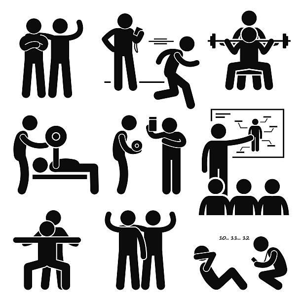 illustrations, cliparts, dessins animés et icônes de entraîneur personnel gym instructeur exercice entraînement pictogram entraîneur - coach sportif