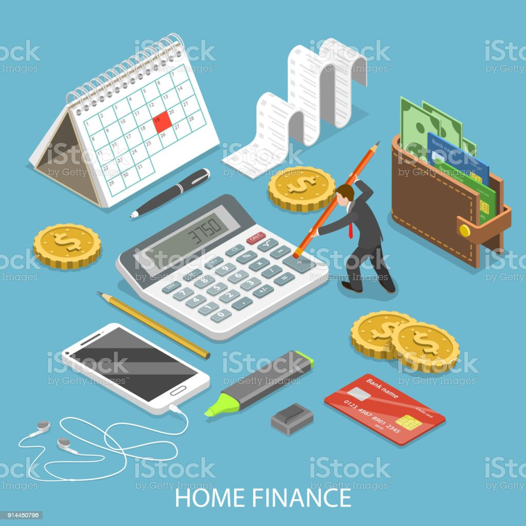 Personal home finance flat isometric vector. vector art illustration