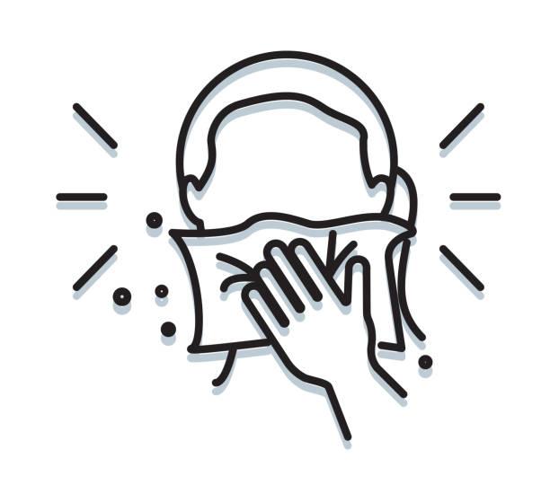 bildbanksillustrationer, clip art samt tecknat material och ikoner med personlig hygien - cover mouth medan nysning - ikon - sneezing