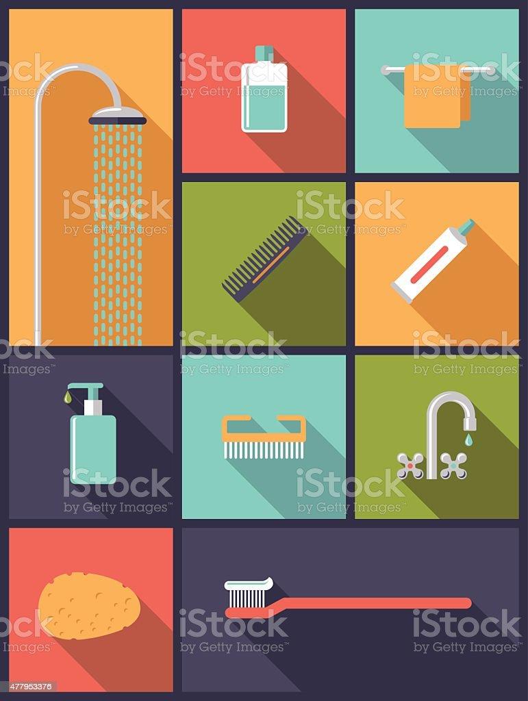 Personal Hygiene Flat Design Icons Vector Illustration vector art illustration