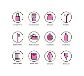 Personal hygiene items and life without plastic  Vector icons set in linear style