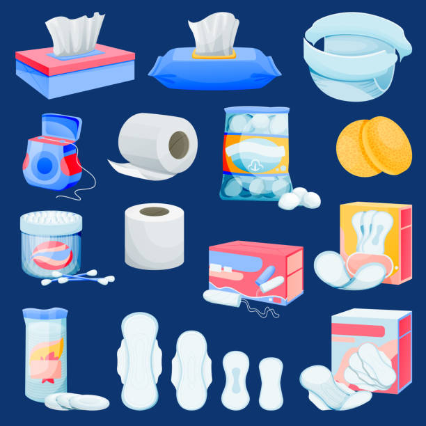illustrazioni stock, clip art, cartoni animati e icone di tendenza di personal hygiene supplies. vector hygienic supplements illustration. womens cleansing products. kids care sanitary icons - salvietta umidificata