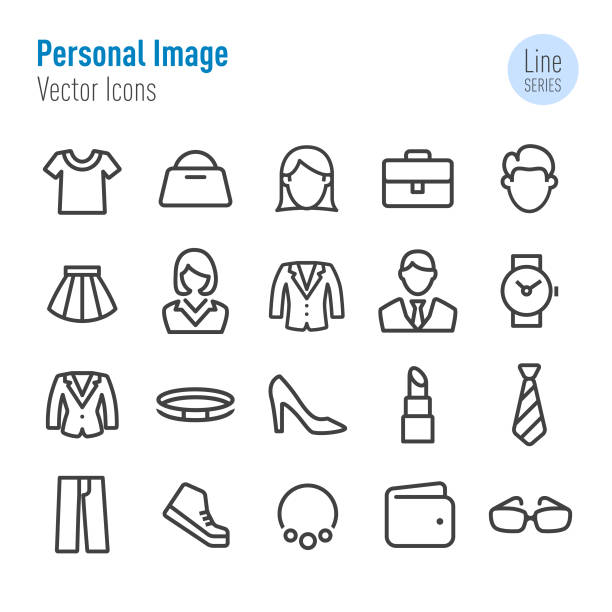 Personal Image Icons - Vector Line Series Personal Image, lipstick stock illustrations