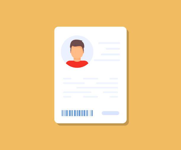 bildbanksillustrationer, clip art samt tecknat material och ikoner med ikon för personlig informationsdata. ikon för identifieringskort. ikon för personlig informationsdata. symbol för användar-eller profilkort, identitetshandling med person foto och text. bilförare, körkort, id-kortet - profile photo