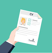 Personal info data icon vector illustration isolated, flat cartoon style of user or profile card details in reviewer hand, account idea, identity document or cv with person photo and text clipart