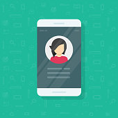 Personal info data on mobile phone vector illustration, flat cartoon user contacts or profile card details on smartphone, cellphone my account pictogram idea, identity person photo and text clipart