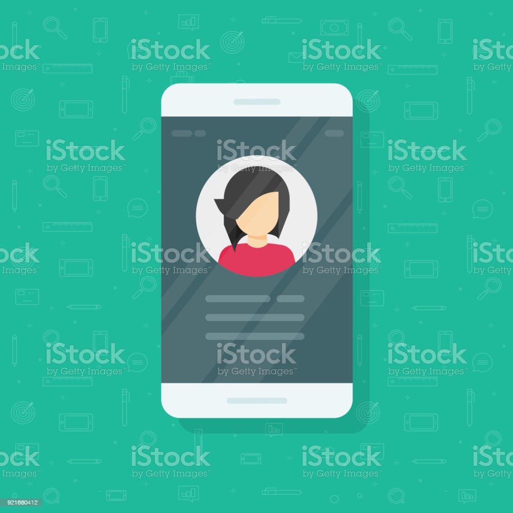Persönliche Daten auf dem Handy Vektor Illustration, flache Cartoon Benutzerkontakte oder Profil Kartendetails auf Smartphone, Handy, mein Konto Piktogramm Idee, Identität Person Foto und text – Vektorgrafik