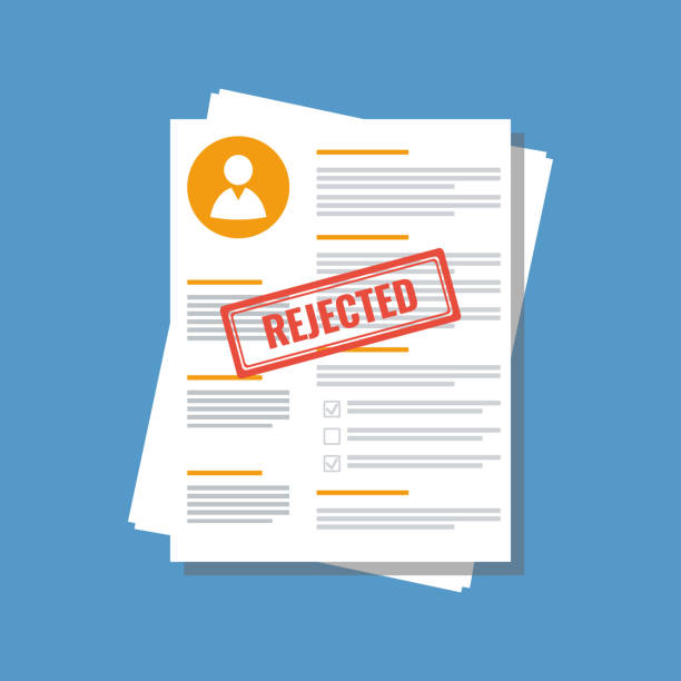 personal information application form with stamp rejected personal information application form with stamp rejected rejection stock illustrations