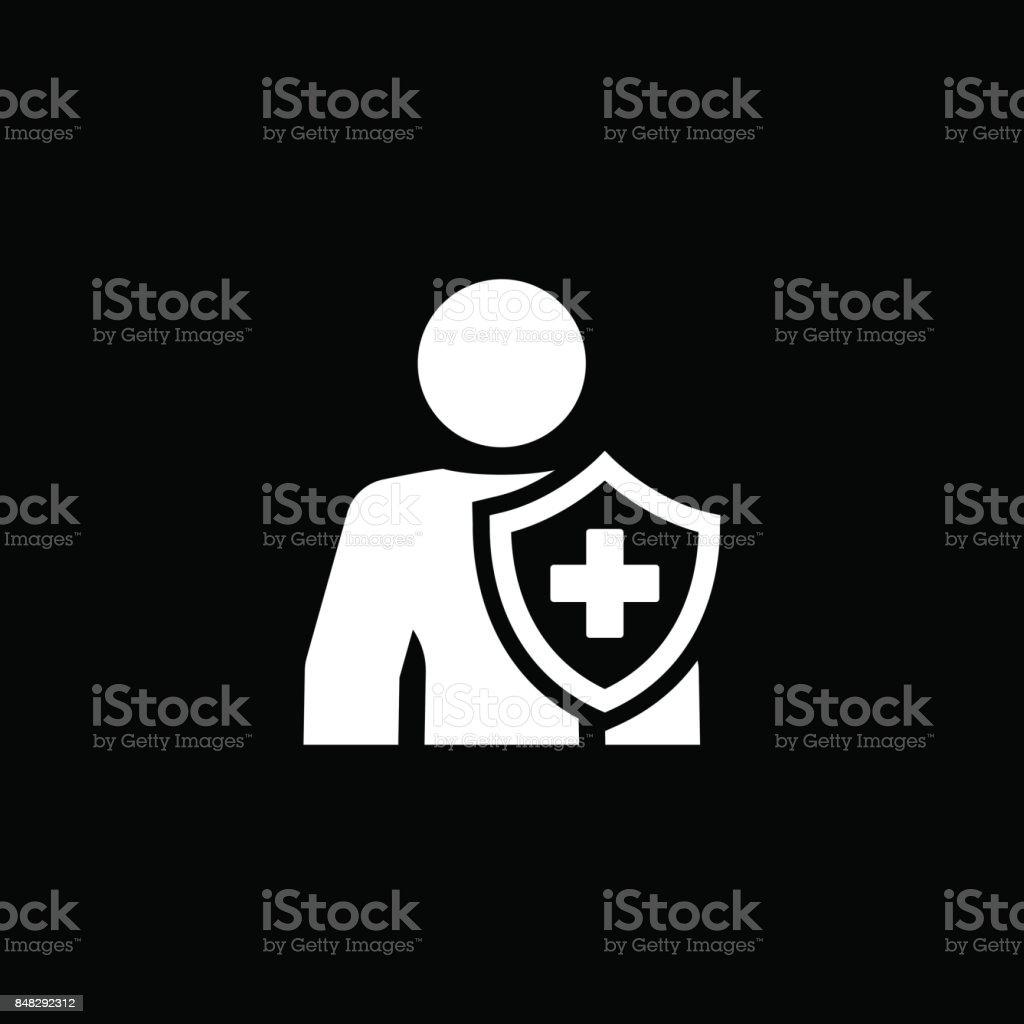 Icône d'assurance personnelle. Design plat. - Illustration vectorielle