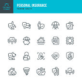 Set of 20 Personal Insurance line vector icons. Life Insurance, Home Insurance, Medical insurance, Transportation Insurance and so on