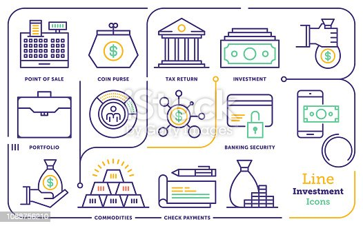 Line icon set vector illustrations of personal investment, funds and asset management.