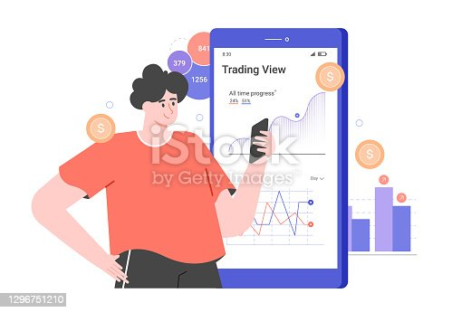 istock Personal investment. Mobile application for a trader. Character and big smartphone with graphs. Analysis of trends and dynamics of stock prices. Vector flat illustration. 1296751210