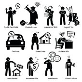 Set of pictogram representing the personal liabilities of a person. This includes credit card debt, student loan, unexpected bills, unpaid tax, car loan, home loan, utilities bills, home rental, insurance, installment and chronic diseases.