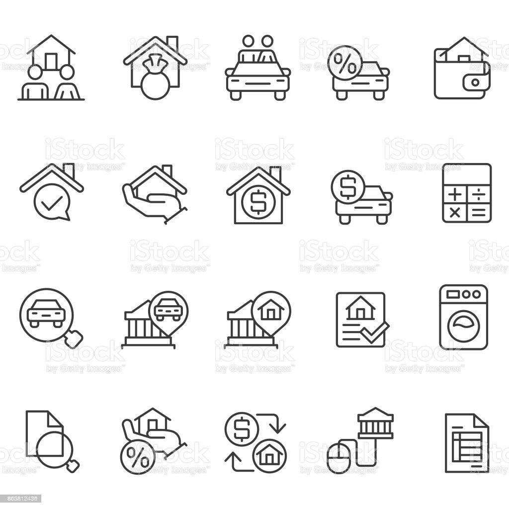 Personal loan icon set vector art illustration