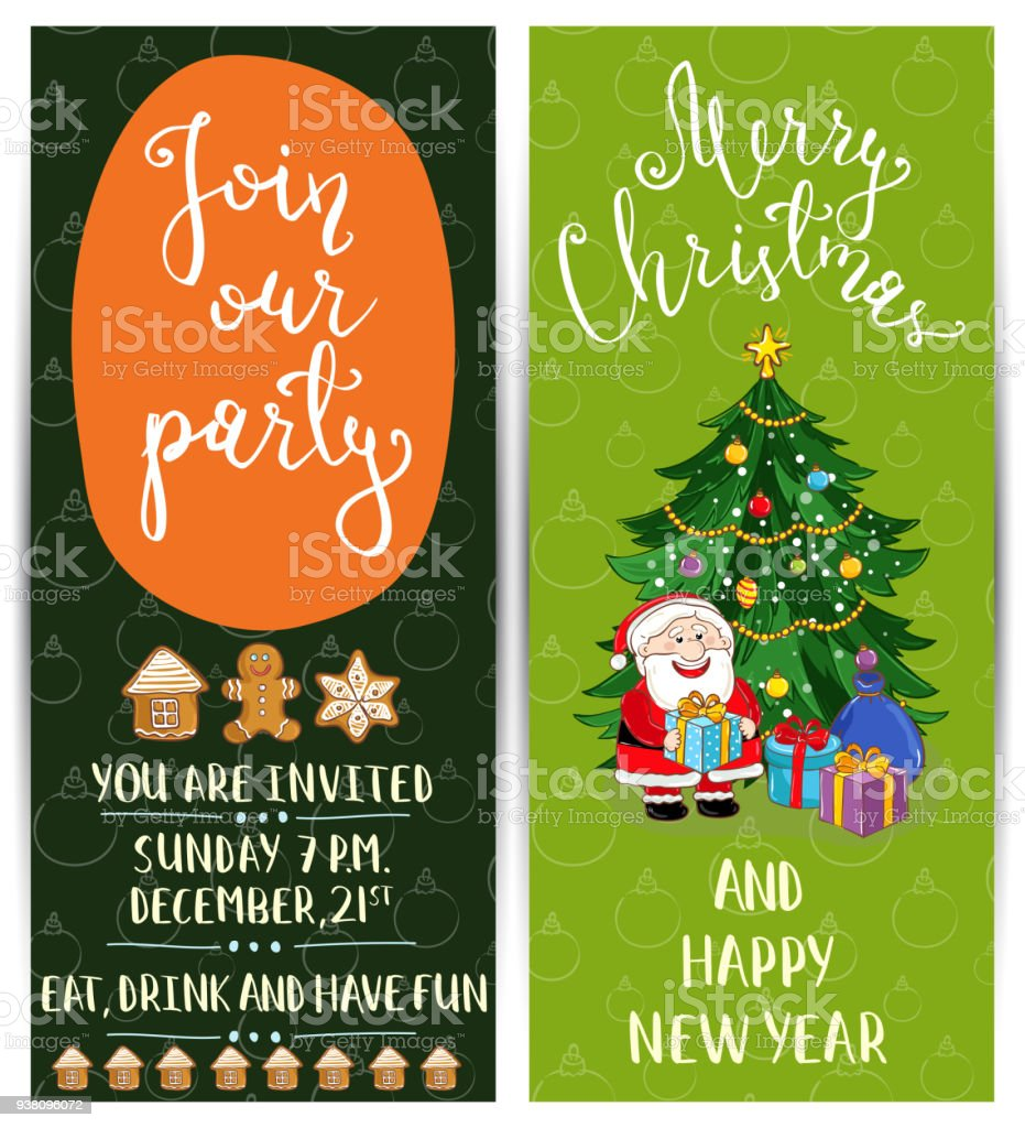 personal offer to join corporate christmas party stock vector art