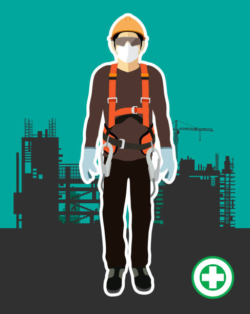 Personal Protect Equipment, safety harness , construction vector Personal Protect Equipment, safety harness , construction vector safety harness stock illustrations