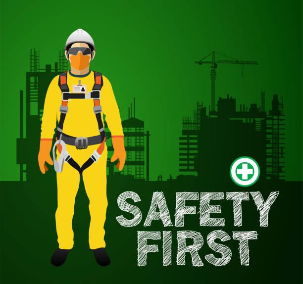 ilustraciones, imágenes clip art, dibujos animados e iconos de stock de equipo de protección personal, arnés de seguridad, vector de construcción - equipo de seguridad