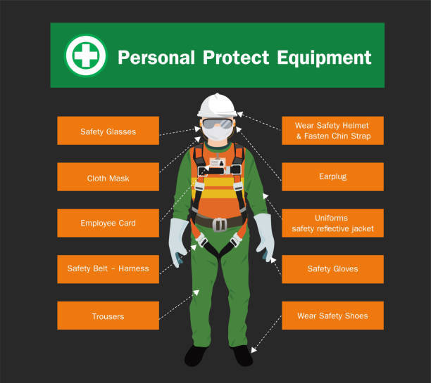 Personal Protect Equipment,safety vector design Personal Protect Equipment,safety vector design safety harness stock illustrations