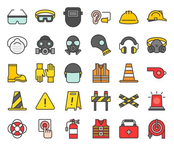 ilustraciones, imágenes clip art, dibujos animados e iconos de stock de personales protección equipos y bomberos equipo icono, contorno lleno - equipo de seguridad
