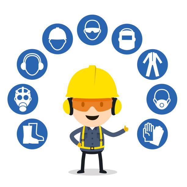 persönliche schützende ausrüstung und sicherheit symbole - fachberuf stock-grafiken, -clipart, -cartoons und -symbole