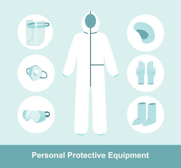 havadaki kirleticiler için ppe kişisel koruyucu ekipman. komple koruma kiti tam vücut tıbbi tulum. düz vektör çizimi - google stock illustrations
