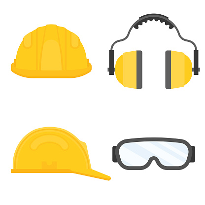 personal protective equipment for industrial security, safety glasses, helmet, ear muffs in flat design vector
