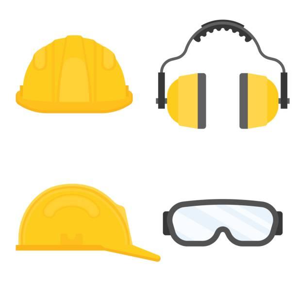 ilustraciones, imágenes clip art, dibujos animados e iconos de stock de equipo de protección personal para seguridad industrial, lentes de seguridad, casco, orejeras oído en vector de diseño plano - equipo de seguridad