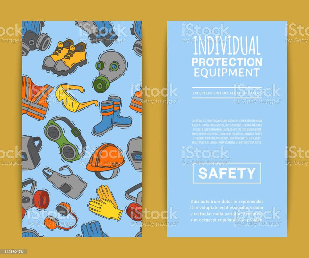 Personal protective equipment for safe work vector illustration. Big...