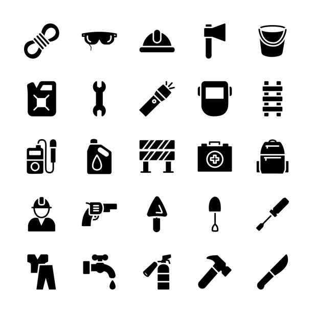 personal protective equipment icons - tap water stock illustrations