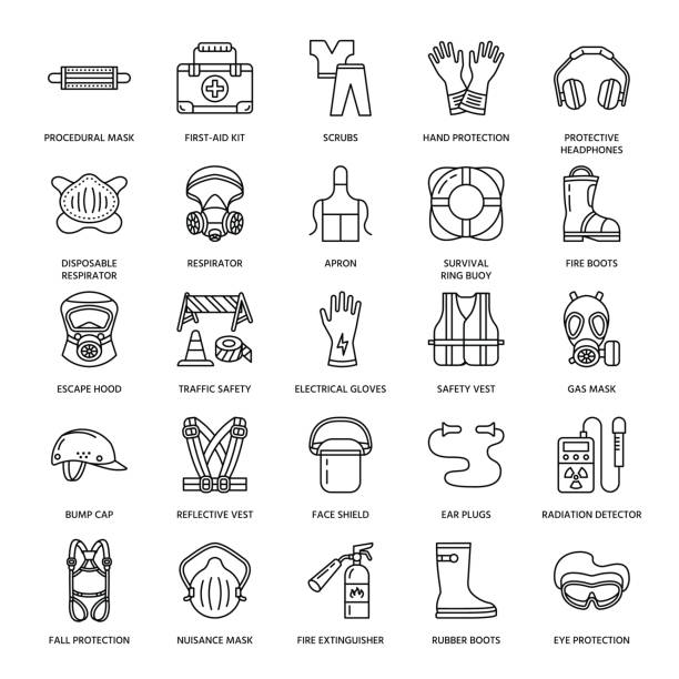 personal protective equipment line icons. gas mask, ring buoy, respirator - google stock illustrations
