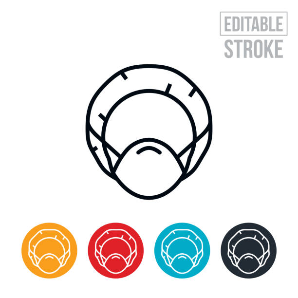 Personal Protective Equipment Thin Line Icon - Editable Stroke An icon of a medical professional with a surgical cap and face mask. The icon includes editable strokes or outlines using the EPS vector file. surgical cap stock illustrations