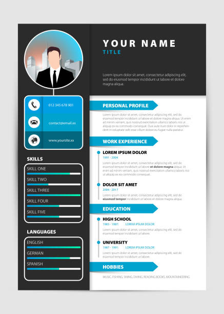 Personal Resume Modern Template In Blue Style Vector Stock Vector ...