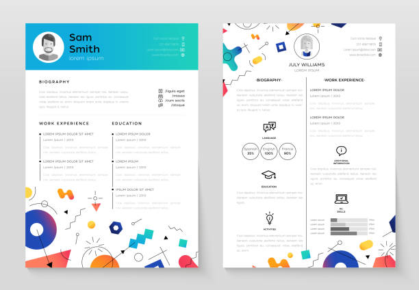 personal resume - vector template illustration - resume templates stock illustrations