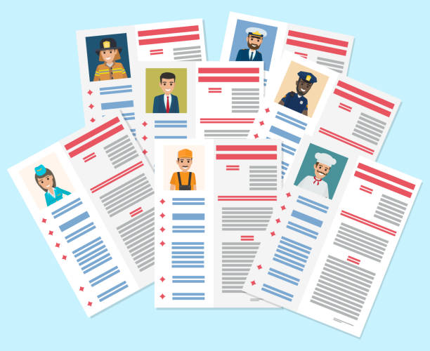 Personal Resumes of Different Industry Workers Personal resumes of flight attendant, brave firefighter, businessman, handy plumber, bold captain, honest policeman and chef vector illustration. police interview stock illustrations