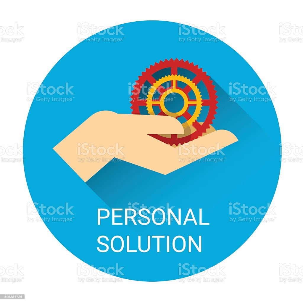 Personal Solution Business Man Hand With Cogwheel Icon royalty-free personal solution business man hand with cogwheel icon stock vector art & more images of abstract