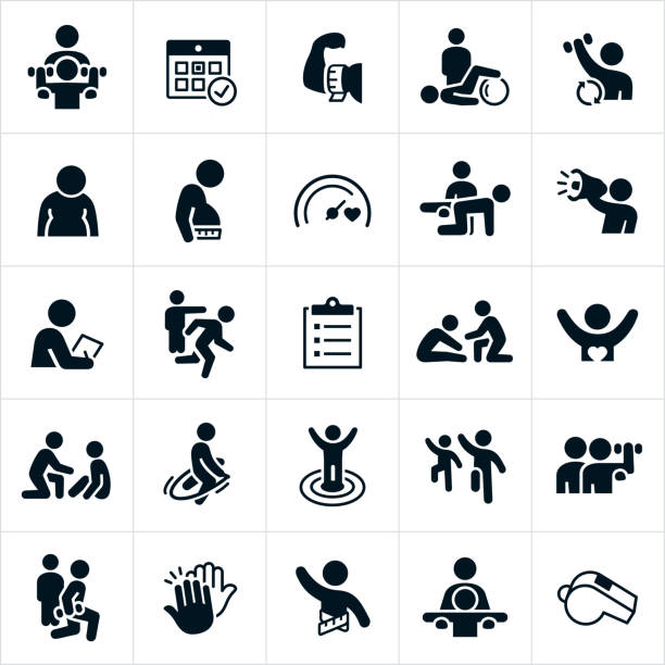 Personal Trainer Icons vector art illustration