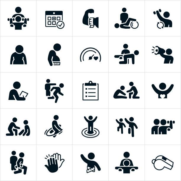 ilustrações, clipart, desenhos animados e ícones de ícones pessoais do instrutor - personal trainer