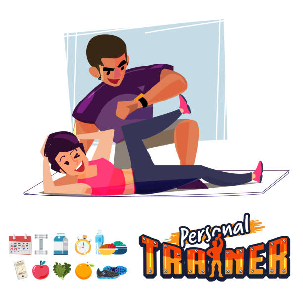 Personal Trainer with woman vector art illustration