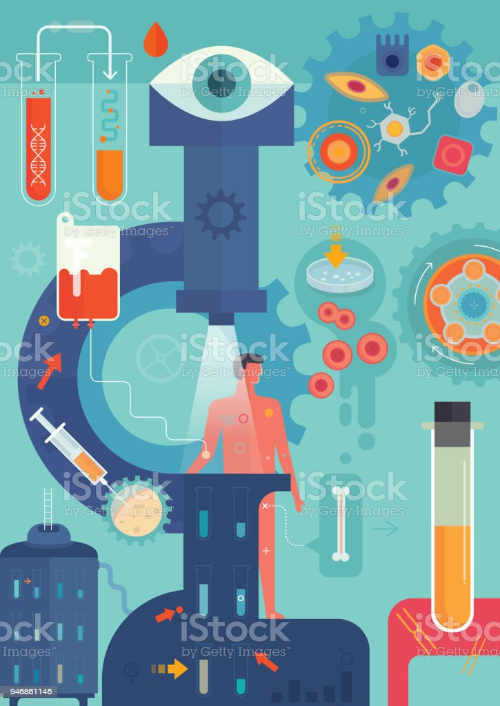 Medicina personalizada Vertical - ilustração de arte em vetor