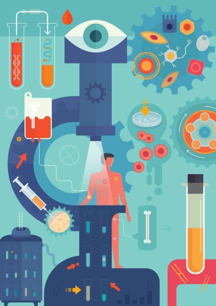 personalisierte medizin-vertikal - genforschung stock-grafiken, -clipart, -cartoons und -symbole