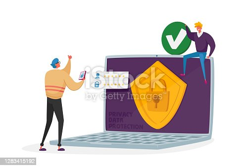 Personality Verification, Secure Account Access, Privacy Data Protection, VPN Concept. Website, Data Security or Privacy in Internet. Tiny Characters at Huge Laptop. Cartoon People Vector Illustration