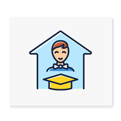 Personalized learning color line icon
