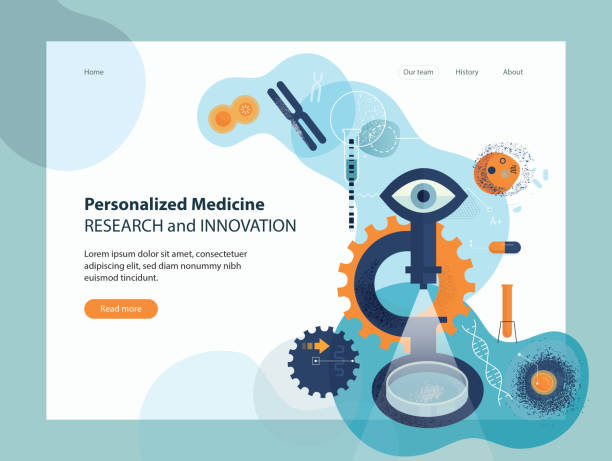 Personalized Medicine Research Innovation Website template depicting personalized medicine research concept. human cell stock illustrations