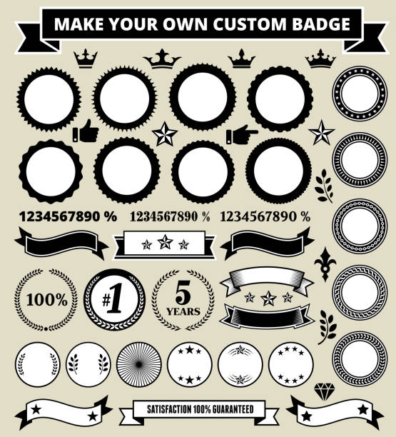 Personalized round black and white badges Custom Round Badges on Black and White Grunge Texture pattern stock illustrations