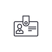 istock Personnel badge linear icon concept. Personnel badge line vector sign, symbol, illustration. 964309038