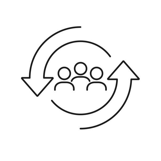 ikona linii zmiany personelu. ludzie w okrągłym symbolu cyklu. koncepcja zasobów ludzkich. ilustracja wektorowa może być używana do takich tematów jak rotacja, kadra, personel, - menadżer stock illustrations