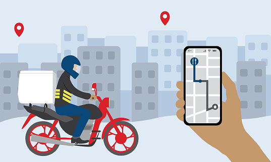 Person's hand holds smartphone for tracking delivery motoboy. Delivery Man Riding A Motorcycle