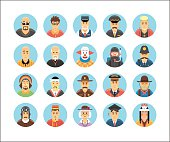 Persons icons collection. Icons set illustrating people occupations, lifestyles, nations