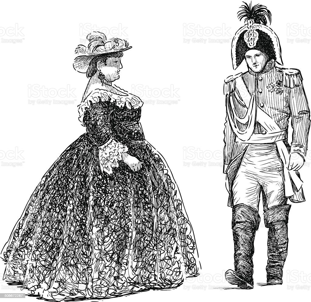 persons in the  historical costumes vector art illustration