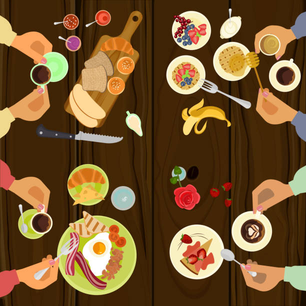 Persons is eating breakfast vector art illustration